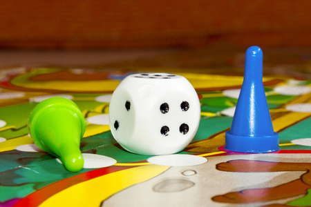 Blue and green  plastic chips dice and Board games for children