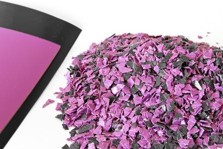Crushed polypropylene, polystyrene. Little polypropylene for secondary use Stock Photo