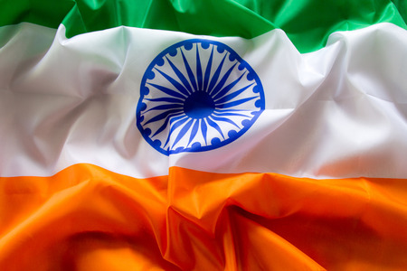 The Flag Of The Republic Of India. The place to advertise, template.The view from the top. Stock Photo