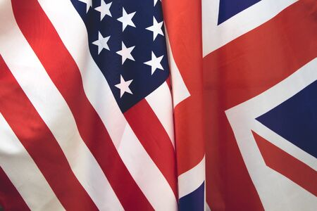 UK flag and USA Flag . Relations between countries . Stock Photo