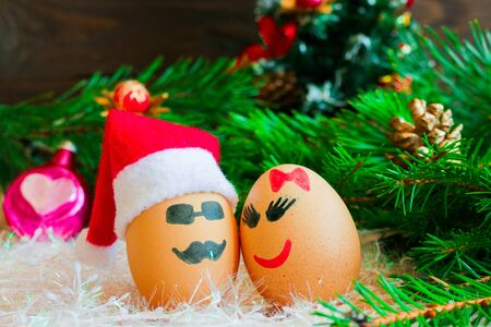 Lovers on  Christmas, cartoon . Unusual eggs with faces, muzzle.  Stock Photo