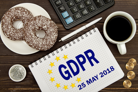GDPR. Notebook with Notes General Data Protection Regulation on the table of a businessman .
