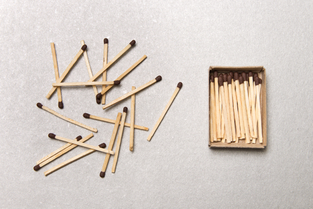 The concept of chaos and order. Chaotic match boxes lying around with the order of stacked matches.