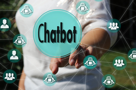 The business woman chooses Chatbot a touch screen. The concept of a Chatbot in a global network