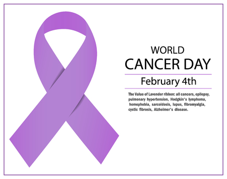 Lavender ribbon awareness for cancers . February 4th, world cancer day. Vector illustration