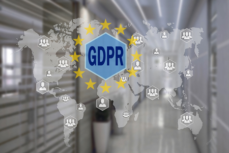 GDPR  on the touch screen with a blur background of the office.The concept of General Data Protection Regulation