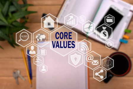 CORE VALUES on the touch screen to the network, on office blur background.Concept of CORE VALUES Banque d'images - 97472711
