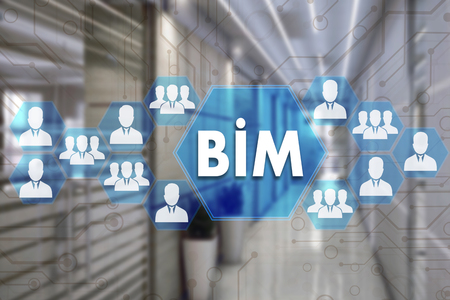 Building Information Modeling. BIM  on the touch screen with a blur background of the office.The concept of Building Information Model  BIM Archivio Fotografico