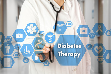 Medical Doctor with stethoscope and Diabetes Therapy icon in Medical network connection on the virtual screen on hospital background.Technology and medicine concept. 스톡 콘텐츠