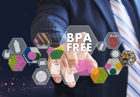 The businessman chooses BPA FREE a on the virtual screen in industrial network connection.The concept made by plastic tare of FREE bisphenol A
