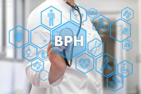 Medical Doctor and BPH, Benign Prostatic Hyperplasia words in Medical network connection on the virtual screen on hospital background.