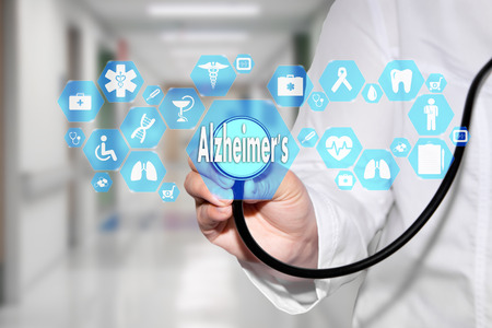 Medical Doctor and Alzheimer's sign in Medical network connection on the virtual screen on hospital background.