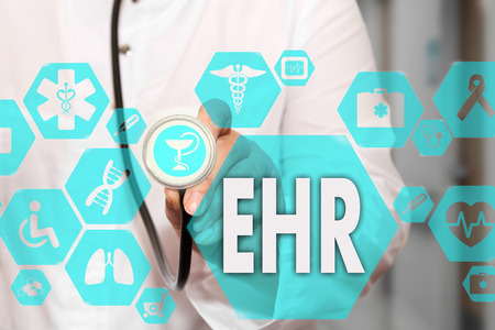 Electronic health record. EHR on the touch screen with medicine icons on the background blur Doctor in hospital.Innovation treatment, service, data analysis health. Medical Healthcare Concept Electronic health record, EHR