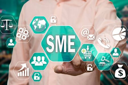 The businessman chooses the Small and Medium Enterprise, SME on the virtual screen in the business network connection. Reklamní fotografie