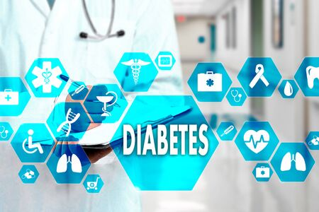 Medical Doctor with stethoscope and Diabetes icon in Medical network connection on the virtual screen on hospital background.Technology and medicine concept. Stock fotó - 125076914