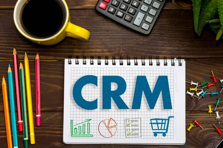 CRM. Customer Relationship Management. Tablet on the office Desk Reklamní fotografie