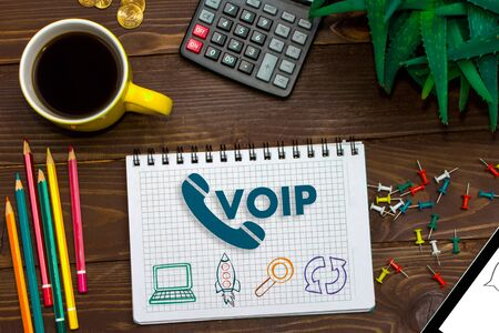 VOIP Office Communication Social Network Concept. Voice over IP - phone internet call technology