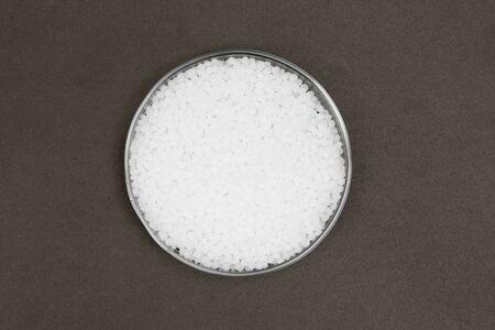 Plastic pellets. Transparent Polyethylene granules. Plastic Raw material  ( Stock fotó