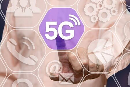 Businessman chooses 5G Wireless connection on the touch screen network connections