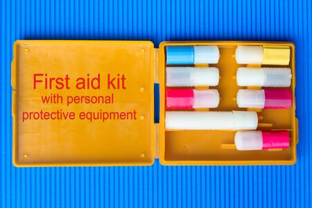 First aid kit with personal protective equipment. Anti-chemical, antibacterial, antiviral, antiseptic means of protection