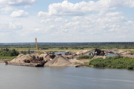 open pit mining of rubble on the river