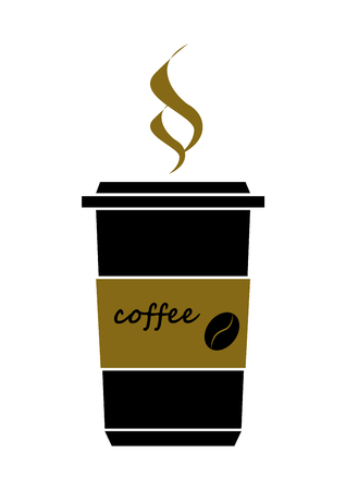 Disposable coffee cup icon with coffee beans logo, Vector illustration