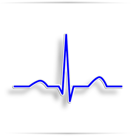 Heart beat electrocardiogram pulse on blue medical chart background. Vector blue heartbeat life line monitor. Digital ECG or EKG cardiogram healthcare wave concept