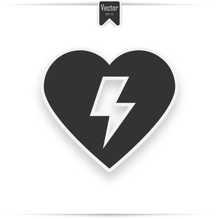 Emergency first aid defibrillator sign. Grey heart icon on a white background, vector illustration.