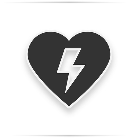Emergency first aid defibrillator sign. Grey heart icon on a white background,  illustration.