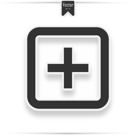 Hospital icon on the white background. Vector hospital icon with realistic shadow  イラスト・ベクター素材