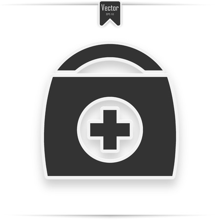Physician or doctor bag flat icon for medical app and website  イラスト・ベクター素材