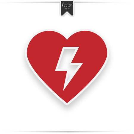 Red automated external defibrillator. Aed sign with heart and electricity symbol flat vector icon