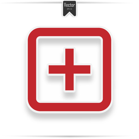 Hospital vector icon. Style is flat symbol, red color, rounded angles, white background. icon with realistic shadow 일러스트