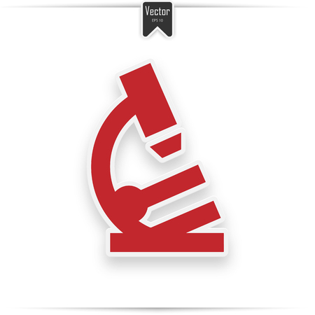 Flat red Microscope web icon with drop shadow on white