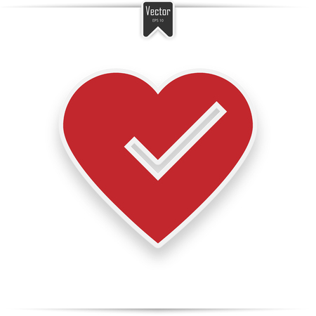 check mark in heart, vector illustration isolated on white. icon with realistic shadow  イラスト・ベクター素材
