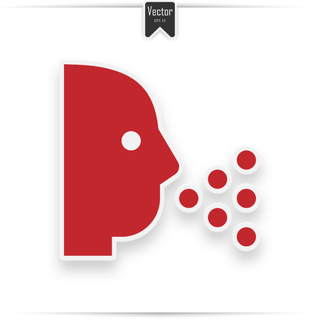 Sneezing vector icon. Style is flat symbol, red color, rounded angles, white background.  イラスト・ベクター素材