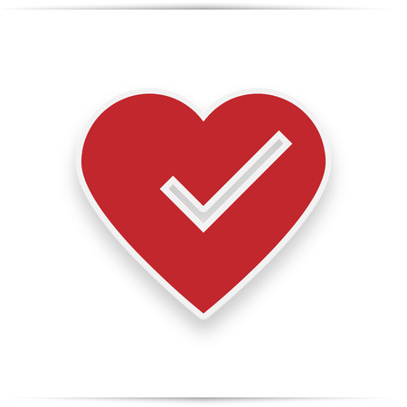check mark in heart,  illustration isolated on white. icon with realistic shadow