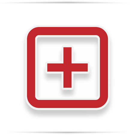 Hospital  icon. Style is flat symbol, red color, rounded angles, white background. icon with realistic shadow Stock Photo