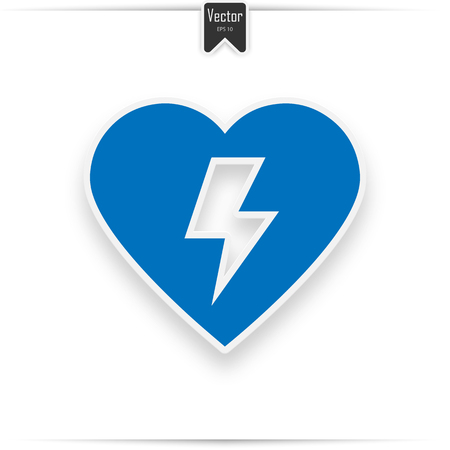 Defibrillator icon blue. Aed sign with heart and electricity symbol flat vector icon  イラスト・ベクター素材