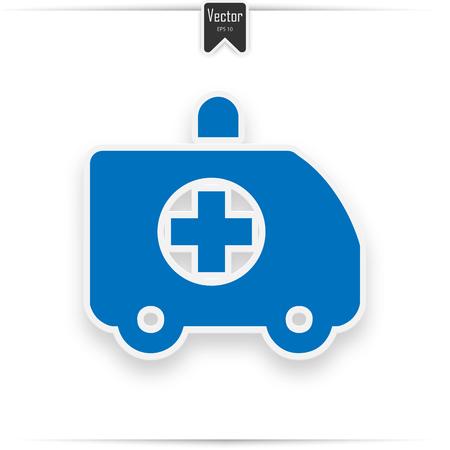 Ambulance car, modern flat icon. ambulance icon blue