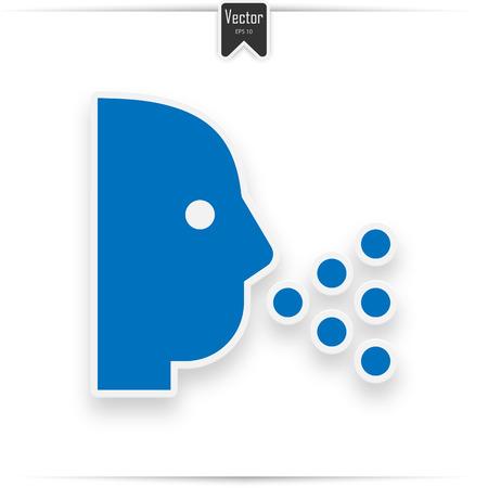 Sneezing vector icon. Style flat symbol blue colors, white background.  イラスト・ベクター素材