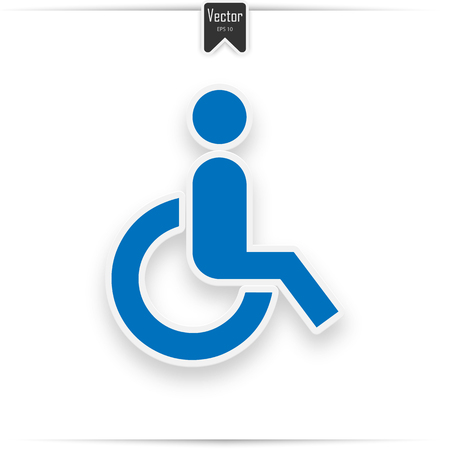 Blue square handicapped sign with wheelchair. Wheelchair Icon