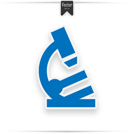 Microscope vector icon. Style is flat symbol, smooth blue color, rounded angles, white background.  イラスト・ベクター素材