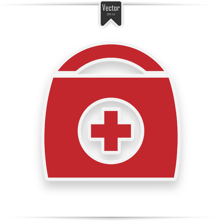 First aid kit, medical help icon in red and white colors, vector illustration. First aid icon. Flat vector related icon with realistic shadow for web and mobile applications. It can be used as - logo,