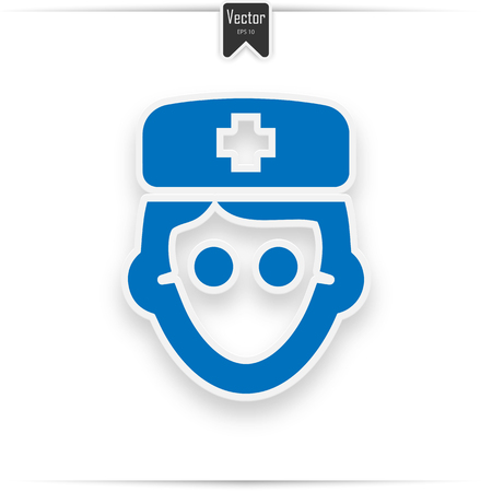 doctor icon, isolated, blue on the white background. Exclusive Symbols  イラスト・ベクター素材