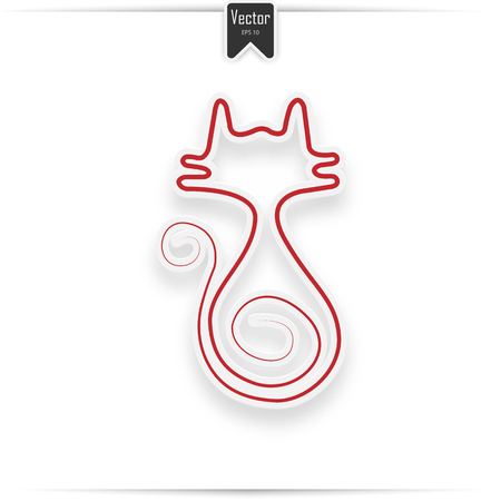 red cat icon isolated on white. Vector flat illustration.