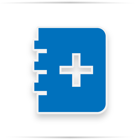 Blue book, with a cross sign on the page. Education simple line  icon. Symbol, logo illustration.