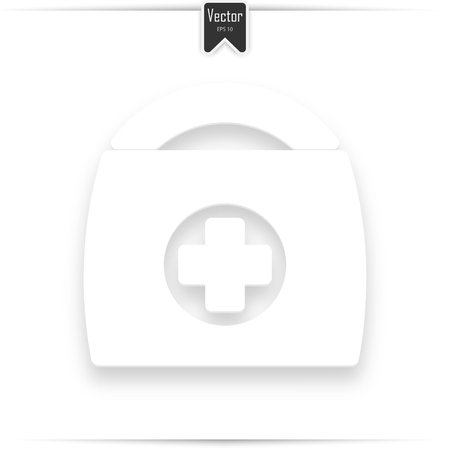 Doodle Doctors Bag icon. First aid concept. Hand drawn medical symbol. Vector illustration. Medical first aid sign white with a realistic shadow