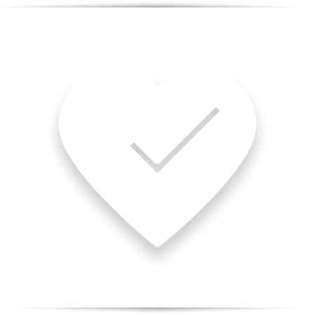 check mark in heart,  illustration isolated on white. icon with shadow