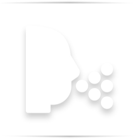 Sneezing Head shadow icon. Style is a flat sneezing head white iconic symbol on a white square background. 写真素材
